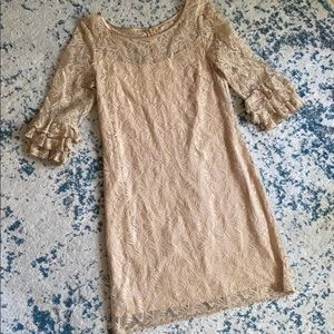 Gold lacy mini dress